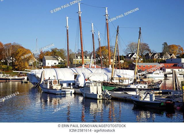 Camden Harbor in downtown Camden, Maine during the autumn months