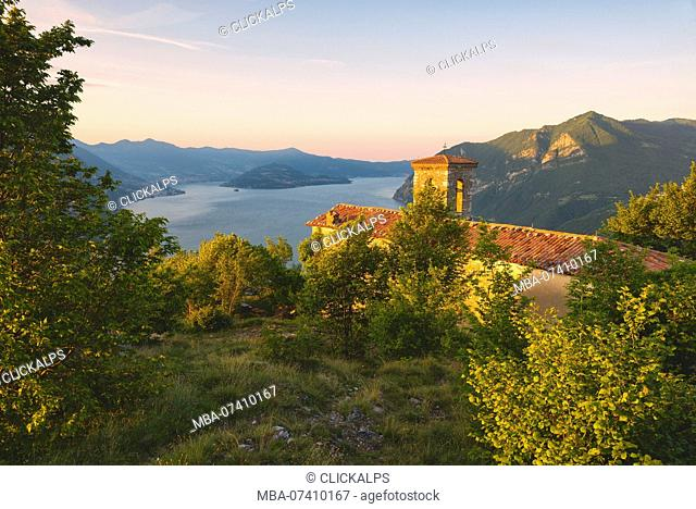 Iseo lake view from San Defendente hill, Bergamo province, Lombardy district, Italy