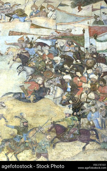 Iran, Isfahan, World Heritage Site, The baazar, Qeysarie gate, Battle scene