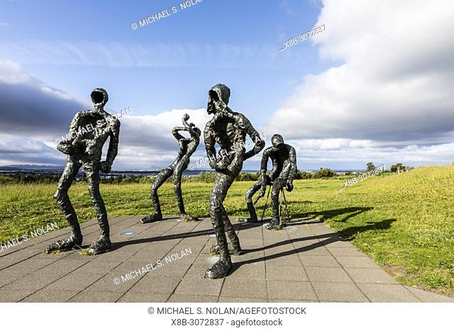 Exterior view of statues in front of The Perlan Museum, in Reykjavík, Iceland