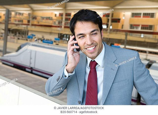 Businessman. AVE, Tren Alta Velocidad. Delicias station, Zaragoza, Aragón. Spain