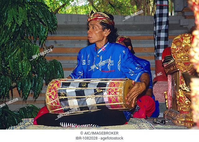 Gamelan musician in Tulamben, Bali, Indonesia