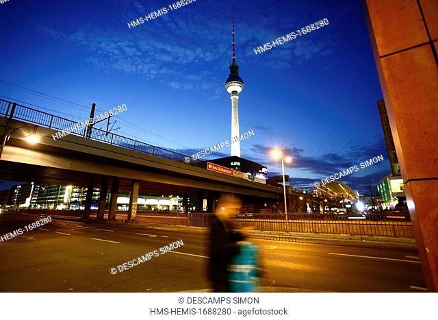 Germany, Berlin, Mitte, the television tower near Alexanderplatz