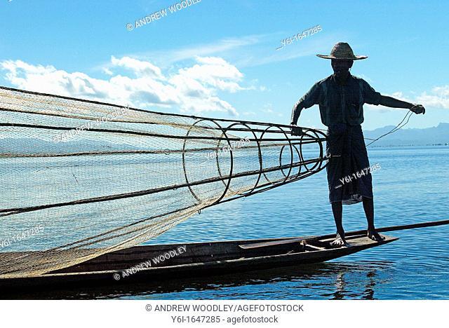 Man fishing at Inle Lake in Burma Myanmar