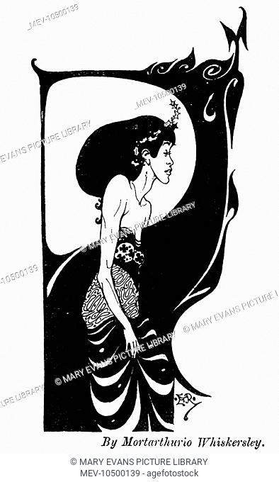 Drawing in Punch, 1894, satirising the unique and controversial artistic style of Aubrey Beardsley. The artist's name used, 'Mortarthurio Whiskersley'