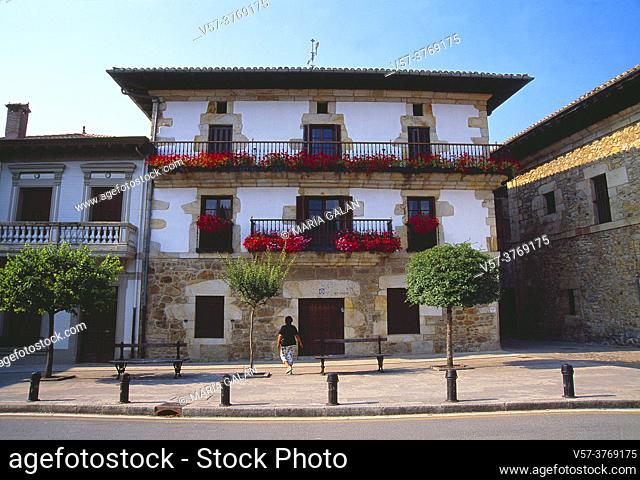 Facade of house. Otxandio, Vizcaya province, Basque country, Spain