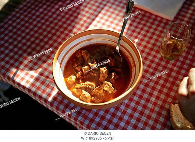 Goulash soup, close-up, Baranja, Croatia