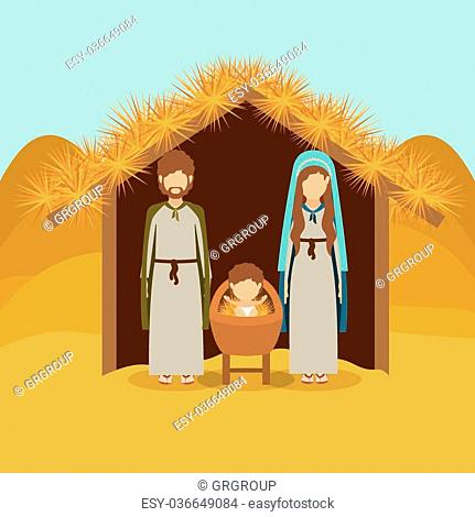 Merry Christmas concept about holy family design, vector illustration eps 10