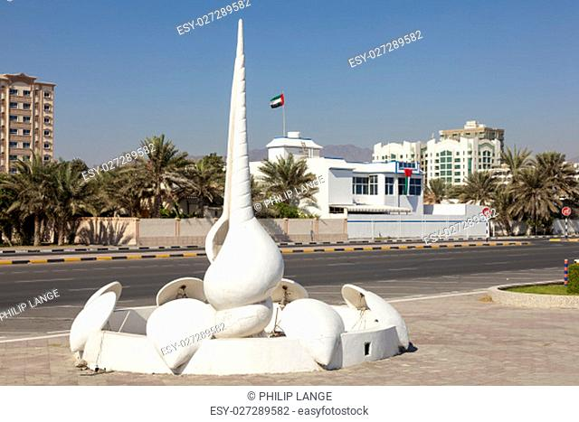 Shell statue at the promenade in the city of Fujairah. United Arab Emirates, Middle East