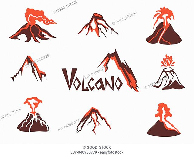 Volcano logo set. Volcanic eruption. Vector illustration, isolated on white background