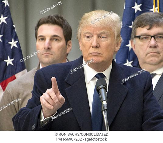 Businessman Donald Trump, a candidate for the Republican Party nomination for President of the United States, holds a press conference at the still under...
