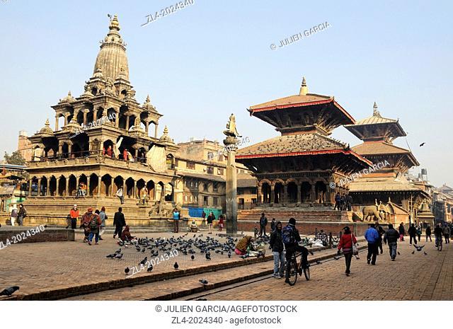 Patan Durbar Square in the morning winter. Nepal, Kathmandu, Patan, Durbar Square