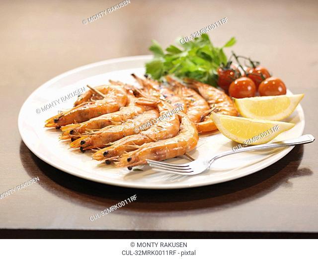 Plate of prawns at restaurant