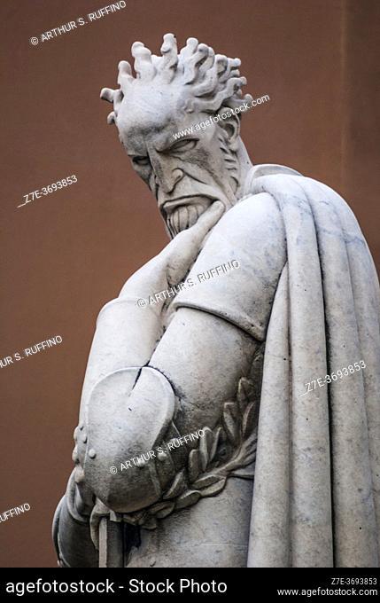 Sculpture of Admiral Andrea Doria by Eugenio Baroni. Statue on balustrade above the Nino Bixio Tunnel (Galleria Nino Bixio), Genoa, Liguria, Italy, Europe