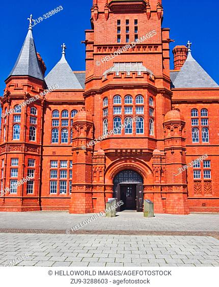 Grade 1 listed Pierhead Building (Adeilad y Pierhead), Cardiff Bay, Wales, United Kingdom. Designed in a French Gothic Renaissance style by William Frame and...