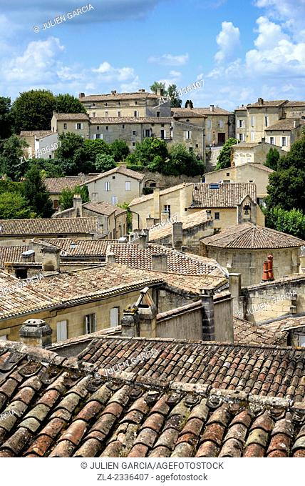 Village roofs. France, Gironde, Saint Emilion, listed as World Heritage by UNESCO