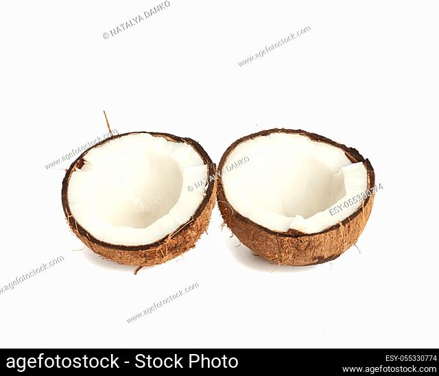 half ripe coconut isolated on white background, close up