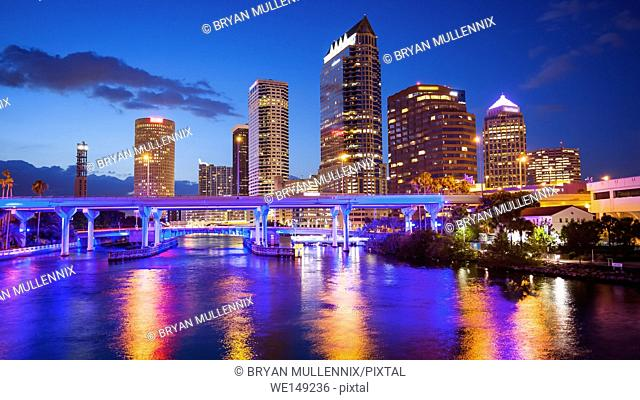 Downtown Tampa, Florida Skyline at night, building logos blurred for commercial use