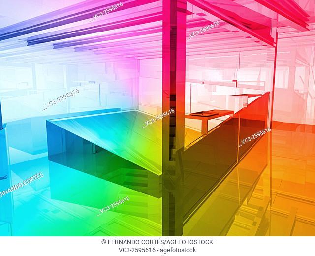 conceptual architecture, open space of colors