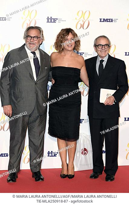 Jose' R. Dosal, Berta Zezza and Giorgio Assumma during red carpet of 60/90 party, for 60 years of career and ninetieth birthday of Fulvio Lucisano