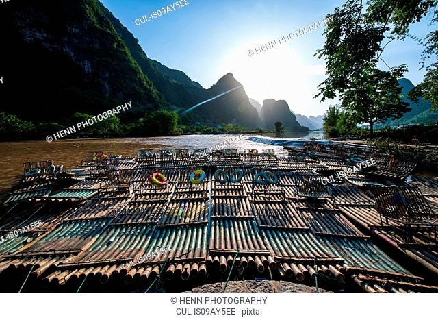 Bamboo rafts on Yu Long river, Karst Mountains, Guangxi, China