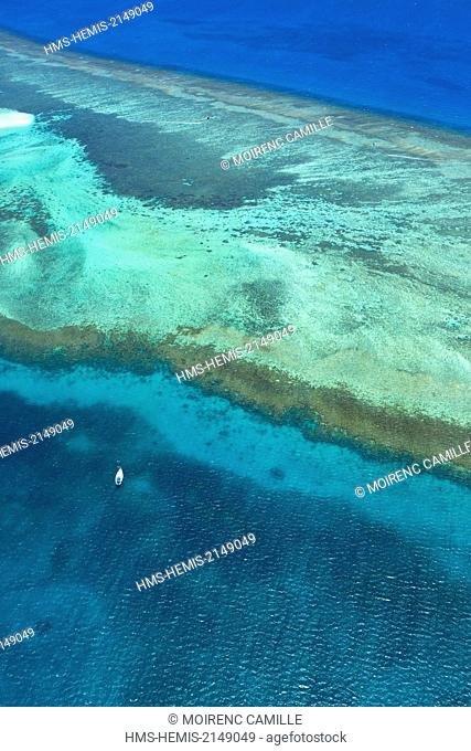France, New Caledonia, Southern Province, off Noumea, nature reserve island Laregnere Lagoon classified as a UNESCO World Heritage (aerial view)