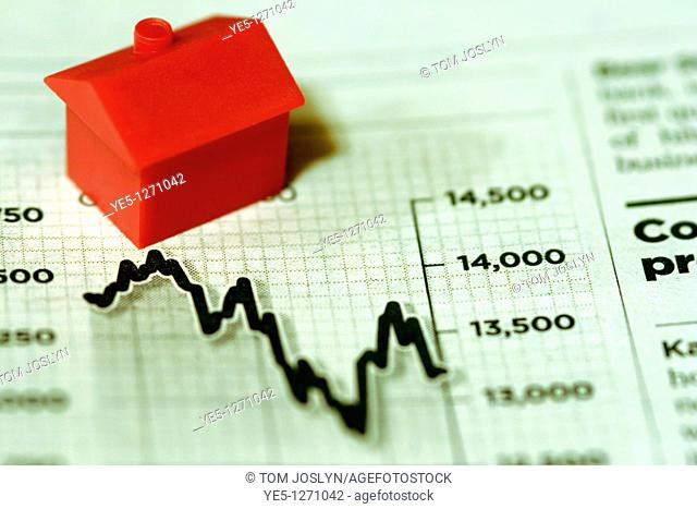 Model house on finance graph in newspaper close up