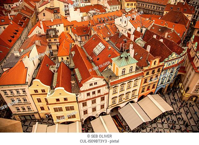View from Astronomical Clock tower, Old Town Square, Prague, Czech Republic