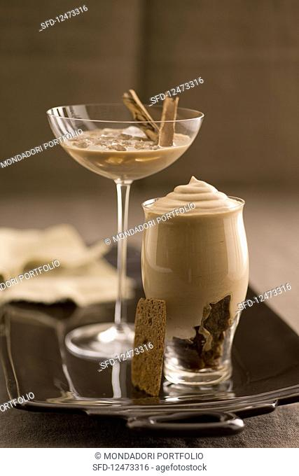 Cold chai coffee and coffee syllabub with cognac