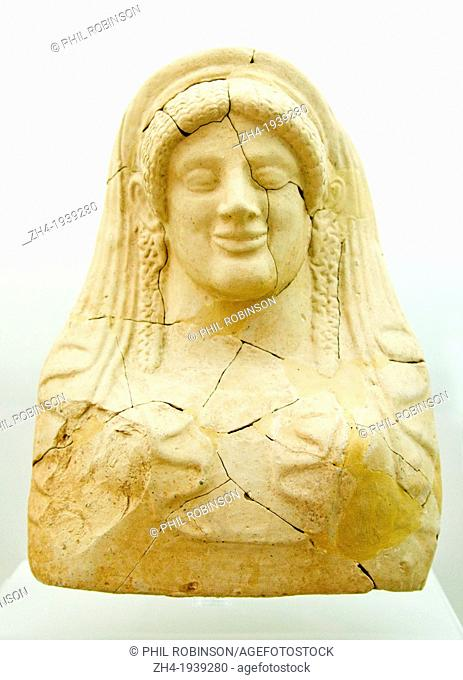 Agios Nikolaos, Crete, Greece. Archeological Museum. Femail Minoan Bust from open shrine or votive pit. (7thC-5thC BC)