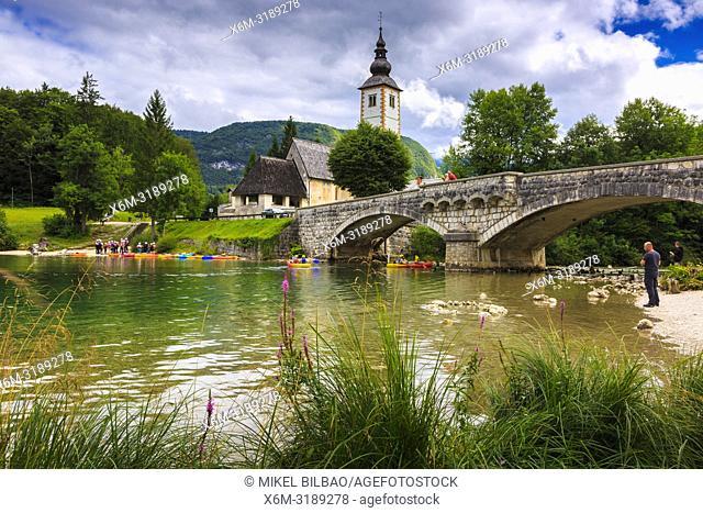 Village and Lake Bohinj. Bohinj. Triglav National Park. Upper Carniola region. Slovenia, Europe