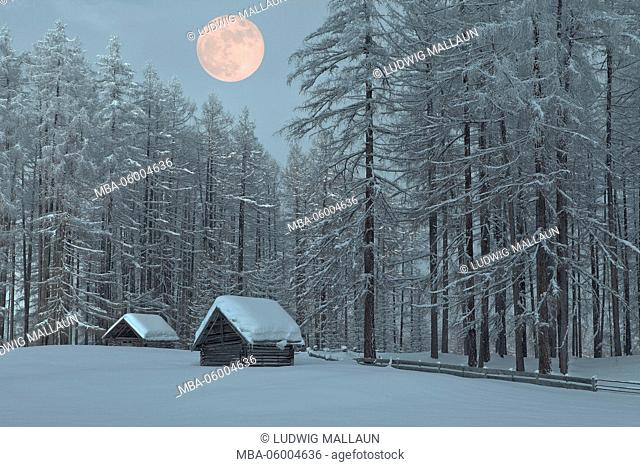 Austria, Tyrol, winter scenery in the Holzleiten Saddle (mountain pass) with full moon
