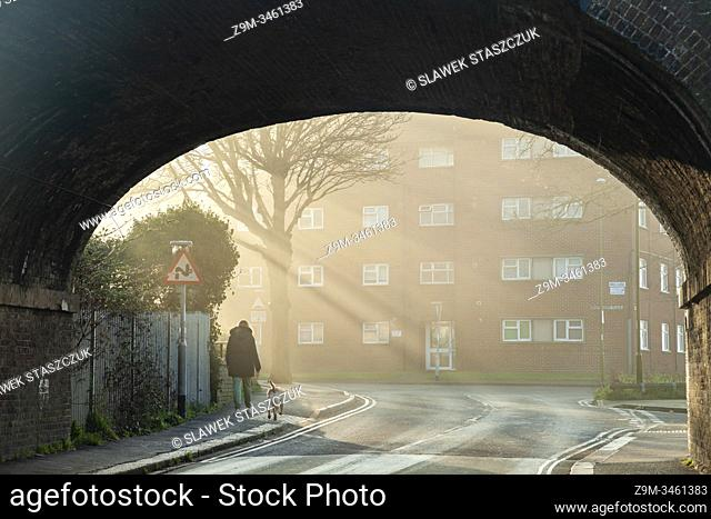 Misty winter morning in Southwick, West Sussex, England