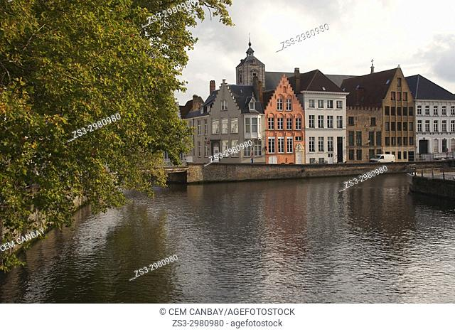 View to the traditional houses by the canal in the city center, Bruges, West Flanders, Belgium, Europe