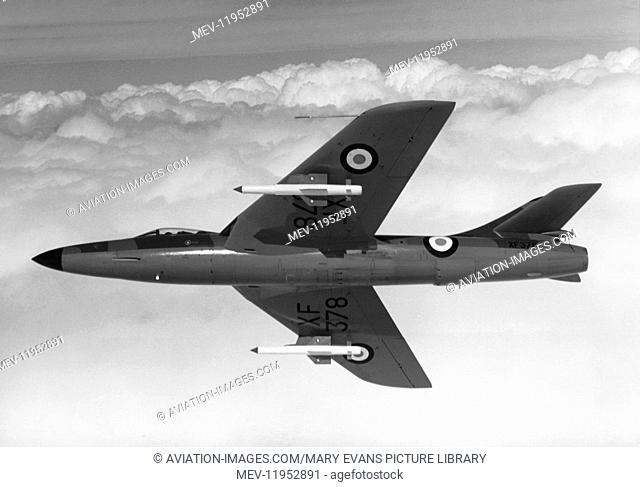 An RAF Hawker Hunter F.6 Flying with Two de Havilland Firestreak Infra-Red Missiles