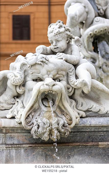 Details of the statues of the Fountain of Neptune located at the north end of Piazza Navona Rome Lazio Italy Europe