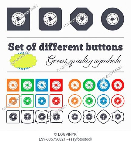 diaphragm icon. Aperture sign. Big set of colorful, diverse, high-quality buttons. illustration