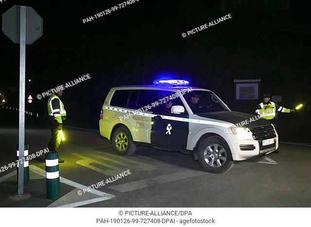 26 January 2019, Spain, Totalan: The Guardia Civil patrols near the well shaft where rescue teams found the body of the dead Julen