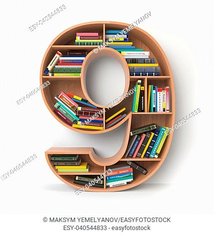 Number 9 nine. Alphabet in the form of shelves with books isolated on white. 3d illustration