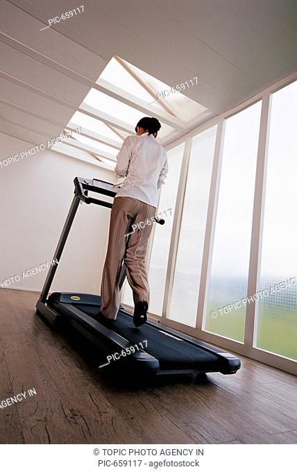 Korean Woman on the Treadmill