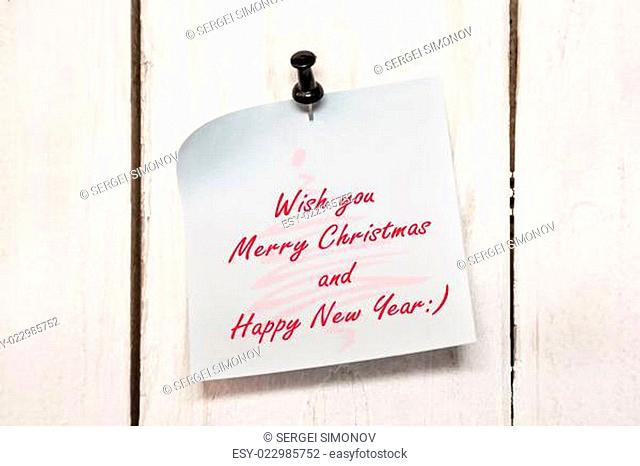 Christmas greeting note paper with pin