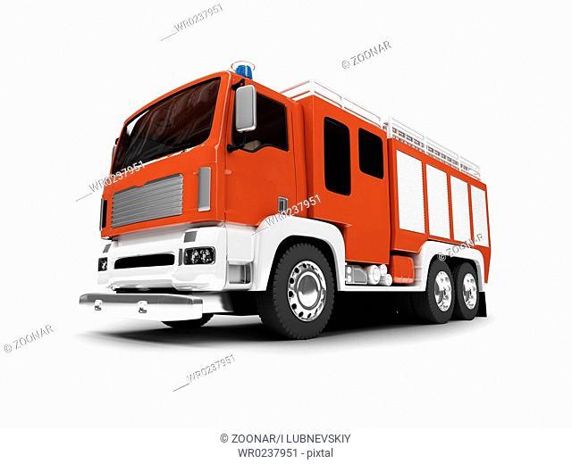 firetruck on white background