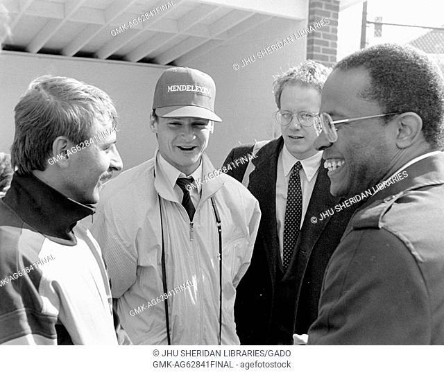 Baseball Kurt Schmoke, the Mayor of Baltimore, 2 Mendeleyev Baseball Players from the Soviet Union, an interpreter, Homewood Field, 1988