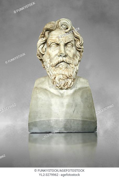 Roman marble sculpture bust of Antisthenes, 2nd century AD copy from an original 340-330 BC Hellanistic Greek original, inv 6159, Museum of Archaeology, Italy