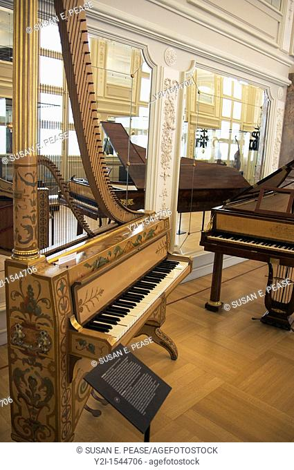 Instruments exhibited inside MIM: Musee des Instuments de Musique Musical Instruments Museum