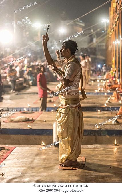 Ganga Aarti ceremony on the ghats of the Ganges, Benares, Varanasi, Uttar Pradesh, India