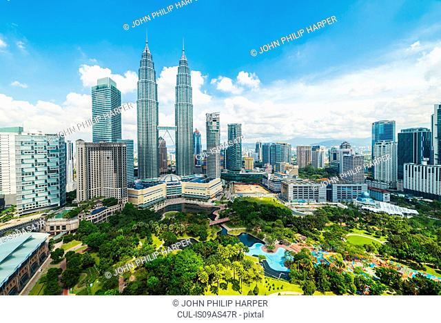 Skyline with Petronas Towers, Kuala Lumpur, Malaysia