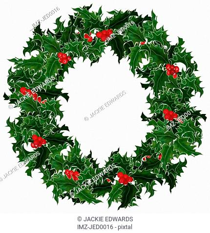 A holly wreath for Christmas decoration