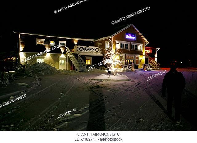 Restaurant Hullu Poro Areena in Levi ski resort, Finnish Lapland. Kittila, Finland