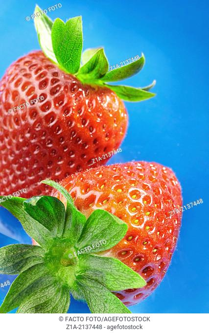 Close-up view of two strawberries on blue background